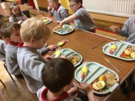 P1 Enjoying Christmas Dinner