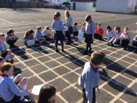 Mental maths outside in the sun today!